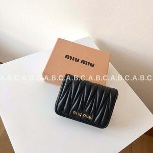 Miu Miu Black Nappa Leather Card Wallet